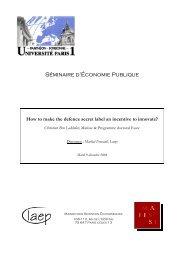 Séminaire d'Économie Publique - Centre d'Économie de la Sorbonne