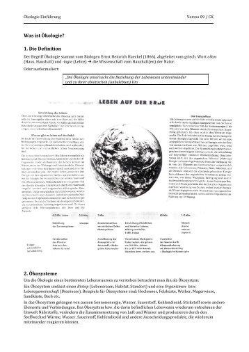Was ist Ökologie? 1. Die Definition 2. Ökosysteme - Caucau.ch