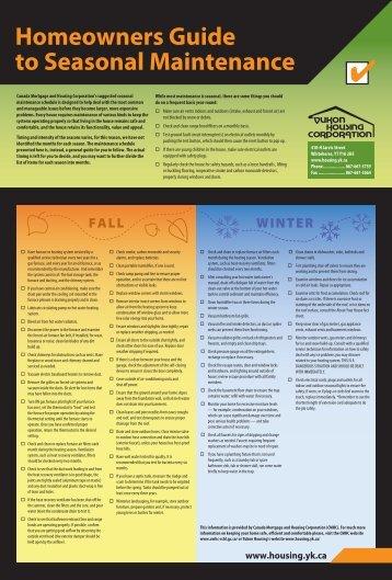 Seasonal Home Maintenance Schedule - Yukon Housing Corporation