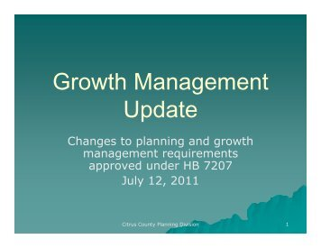 Growth Management Update - July 12, 2011 - Citrus County