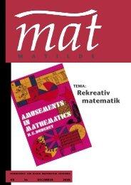 Tema: Rekreativ matematik - Matilde - Dansk Matematisk Forening
