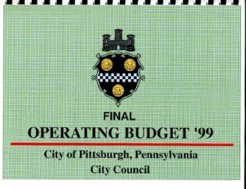 1999 Operating Budget - City of Pittsburgh