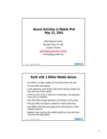 Recent Activities in Mobile IPv6 May 31, 2001 Earth with 1 Billion ...