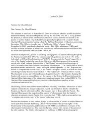 FPCO Letter to Attorney for School District, October 31, 2003