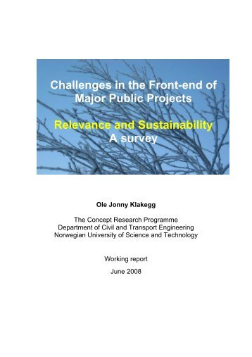 Challenges in the Front-end of Major Public ... - Concept - NTNU