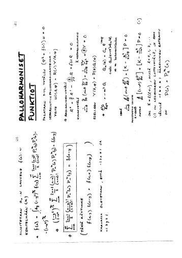 Legendren liittofunktiot, palloharmoniset funktiot, Besselin funktiot ...