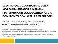 le differenze geografiche della mortalita' infantile in italia. i ...