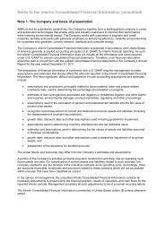 Notes to the Interim Consolidated Financial Information ... - ABB Group