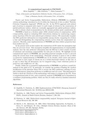 A computational approach to PACMAN Silvia Angilella 1 ∗, Alfio ...