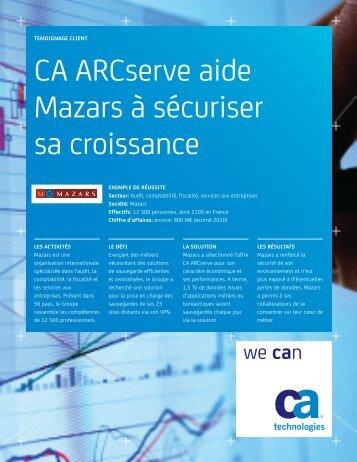 CA ARCserve aide Mazars à sécuriser sa croissance