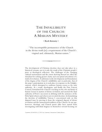 The Infallibility of the Church: A Marian Mystery - Communio