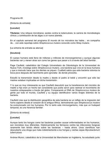 Locutor - Sociedad Española de Microbiología