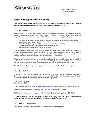 Street Cut Policy - City of Wilmington