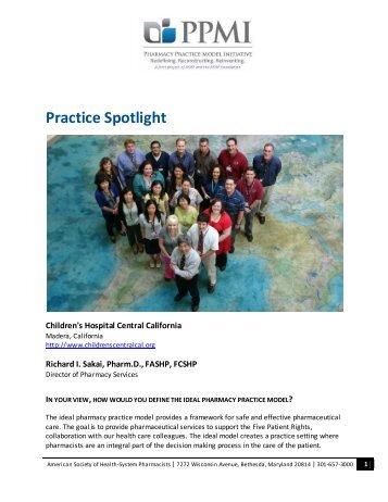Practice Spotlight - American Society of Health System Pharmacists