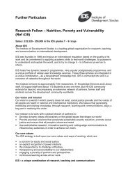 Further Particulars Research Fellow – Nutrition, Poverty and ...