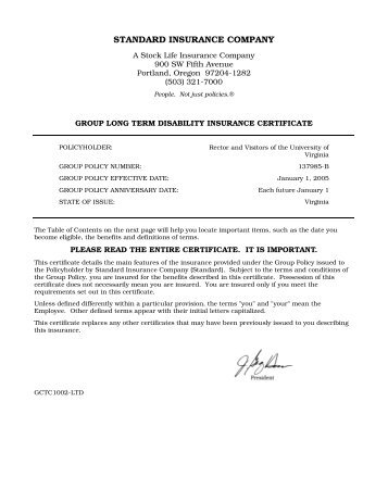 The Standard Disability Certificate - University of Virginia