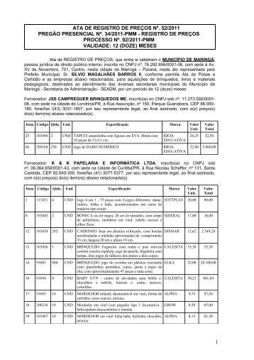 Ata de Registro de Preços 052/2011 - Maringá - Estado do Paraná