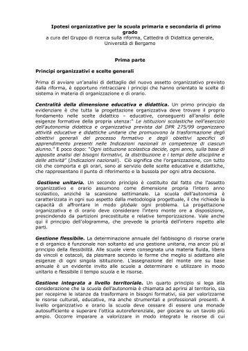 Ipotesi organizzative per la scuola primaria e secondaria di primo ...
