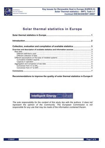 Solar thermal statistics in Europe - European Renewable Energy ...