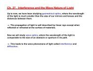 Ch. 27. Interference and the Wave Nature of Light