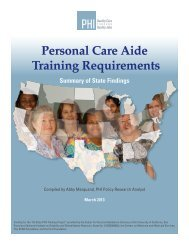 Personal Care Aide Training Requirements Summary of State ... - PHI