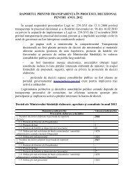 Raport privind transparenta in procesul decizional pentru anul 2012