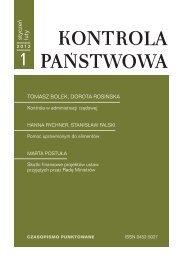 """""""Kontrola Państwowa"""" nr 1/2012 - Najwyższa Izba Kontroli"""