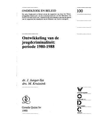 Ontwikkeling van de j eugdcriminaliteit: periode 1980-1988 - WODC