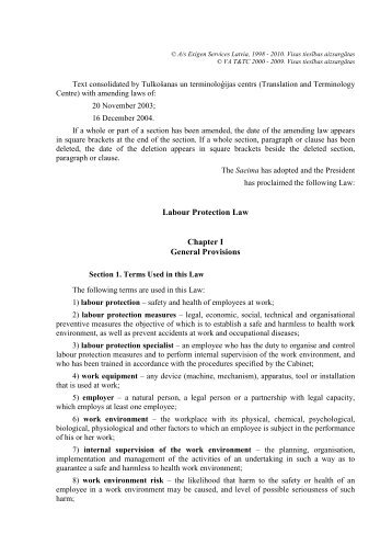 Labour Protection Law Chapter I General Provisions