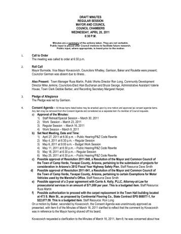 DRAFT MINUTES REGULAR SESSION MAYOR AND ... - Camp Verde