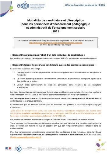 Modalités de candidature et d'inscription pour les personnels ... - Esen