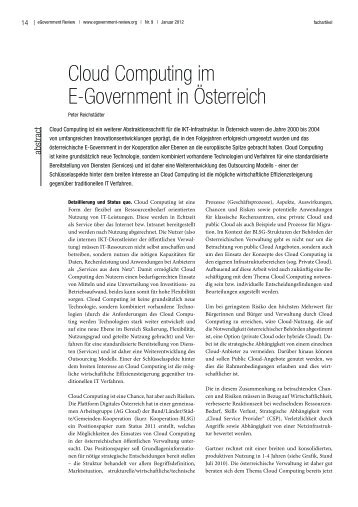Cloud Computing im E-Government in Österreich