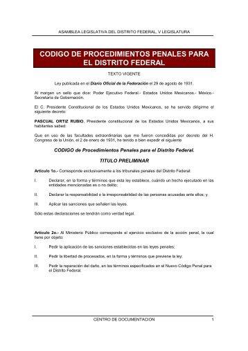 Código de Procedimientos Penales para el Distrito Federal