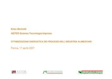 Enzo Bertoldi ASTER Scienza Tecnologia Impresa ... - First - Aster