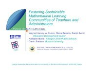 Fostering Sustainable Mathematical Learning Communities of ...