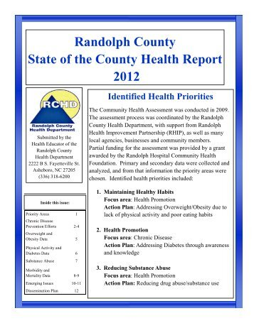 Randolph County's State of the County Health Report 2012