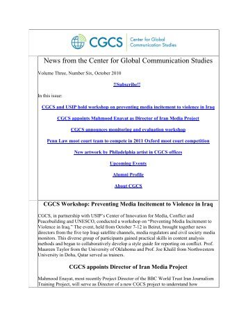 October 2010 - Center for Global Communication Studies