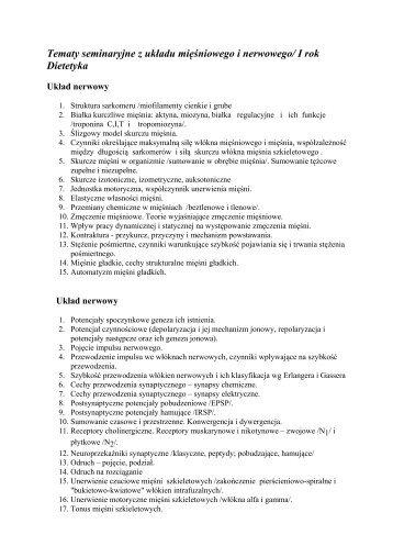 Tematy seminaryjne z układu mięśniowego i nerwowego/ I rok ...
