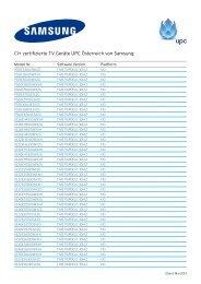 CI+ zertifizierte TV Geräte UPC Österreich von Samsung: