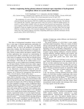 Surface roughening during plasma-enhanced chemical-vapor ...