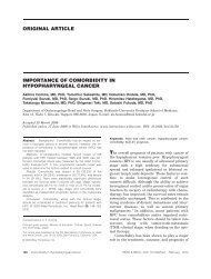 Importance of comorbidity in hypopharyngeal cancer - ResearchGate