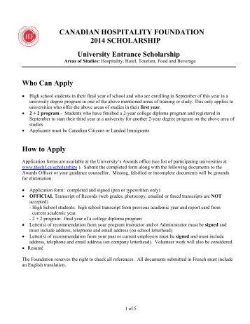 CANADIAN HOSPITALITY FOUNDATION 2013 SCHOLARSHIP ...