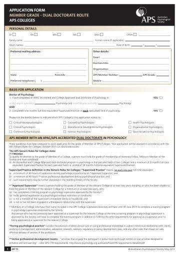 Member Grade - Dual Doctorate application form - APS Member ...