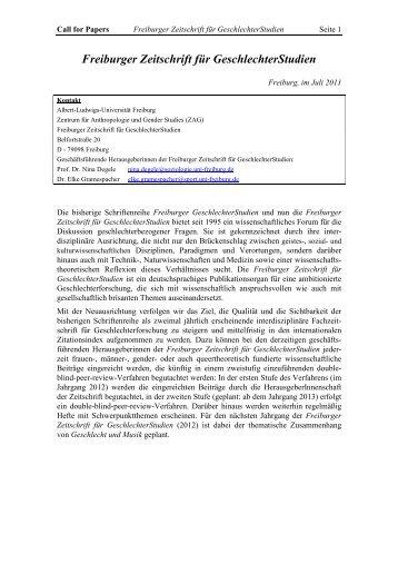 Call for Papers - ZAG der Universität Freiburg - Albert-Ludwigs ...