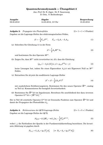 Quantenchromodynamik — Übungsblatt 2 - THEP Mainz