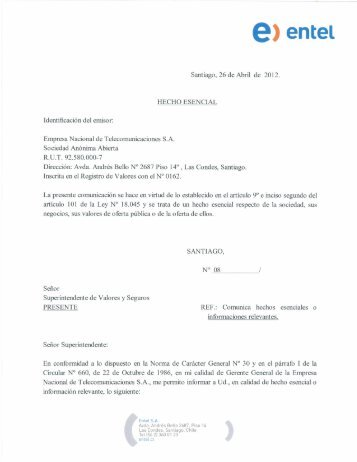 Empresa Nacional de Telecomunicaciones SA - Entel