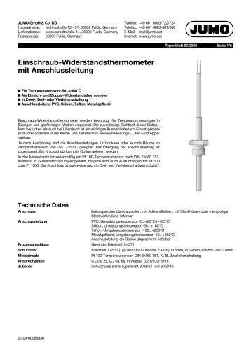 Einschraub-Widerstandsthermometer mit Anschlussleitung - Jumo
