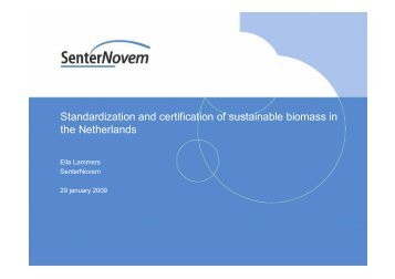 Standardization and certification of sustainable biomass in the ...