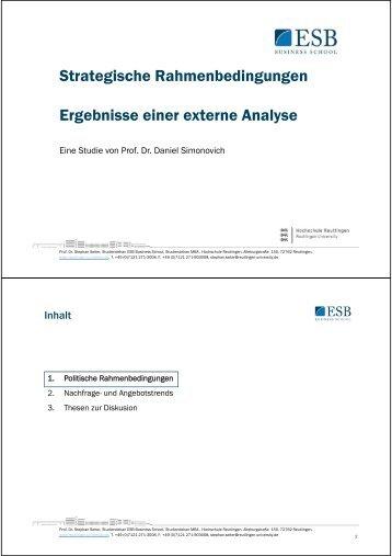 Strategische Rahmenbedingungen für Hochschulen - Prof. Dr. Seiter