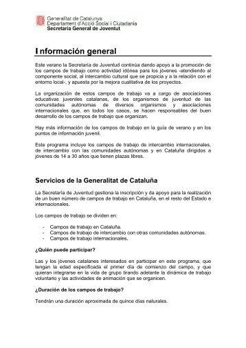 Información general sobre los campos de trabajo